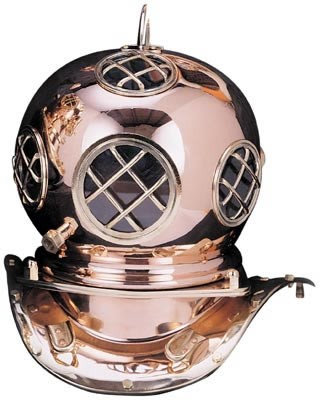"7.5"" Polished Brass & Copper Dive Helmet"