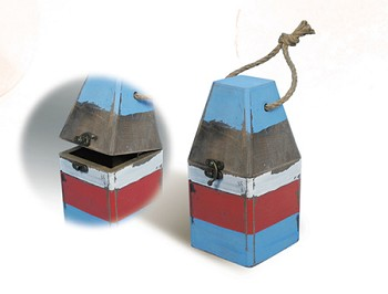 Red, White & Blue Wooden Buoy Box