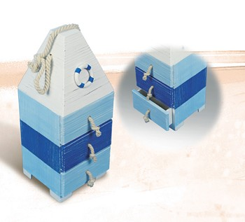 Blue & White Wooden Buoy w/ Drawers