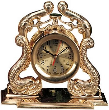 "12.5"" Polished Brass Dragon Quartz Clock"