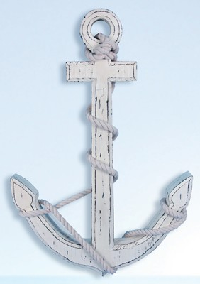 "24"" Distressed White Wood Anchor"