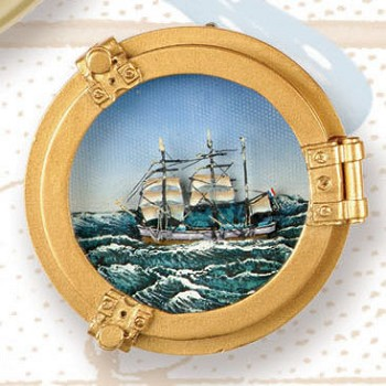 "3.5"" Polystone Porthole w/ Tall Ship Oil Painting"