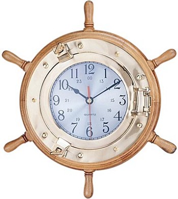 "13"" Porthole Ship Wheel Clock"