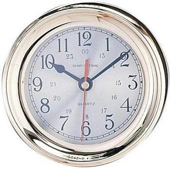 "4.5"" Polished Brass Quartz Captain's Clock"