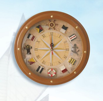Compass Rose Nautical Flag Clock