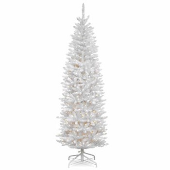 7 ft kingswood white fir pencil christmas tree with 300 clear lights - Pencil Christmas Tree