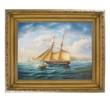 "American Privateer ""Topaz"" Oil on Canvas Painting"