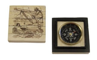 Brass Compass Inlaid in White Bone Mermaid Temptation Box
