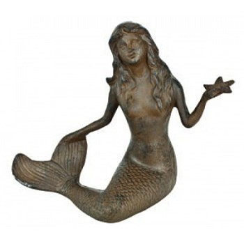 Cast Iron Rust Mermaid w/ Starfish