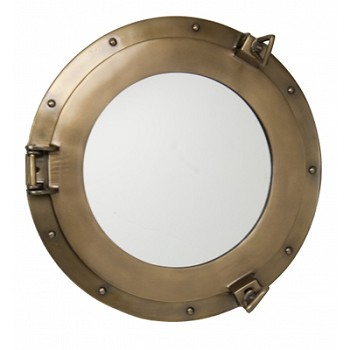 "15"" Aluminum Porthole Mirror w/ Antique Brass Finish"