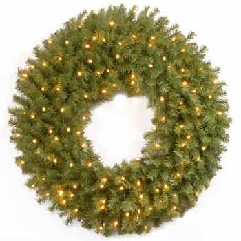 36 In. Norwood Fir Christmas Wreath w/ 100 Concave Soft White LEDs