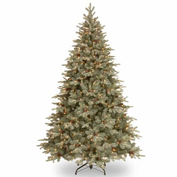 7 1/2 Ft. Feel Real Frosted Spruce Christmas Tree w/ 750 Clear Lights