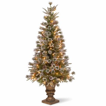 4 Ft. Pine Entrance Christmas Tree w/ Snow & 100 Clear Lights