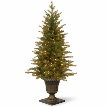 4 Ft. Feel Real Spruce Entrance Christmas Tree w/ 100 Clear Lights