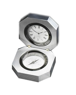 Stainless Steel Clock w/ Compass