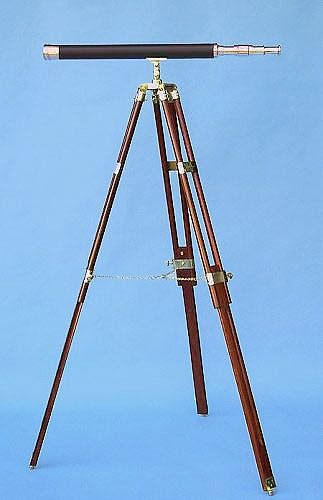 "30"" Polished Brass Leather Sheathed Telescope on Hardwood Tripod"