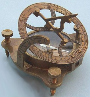 Antique Patina Brass Sundial/Magnetic Compass w/ Hardwood Case