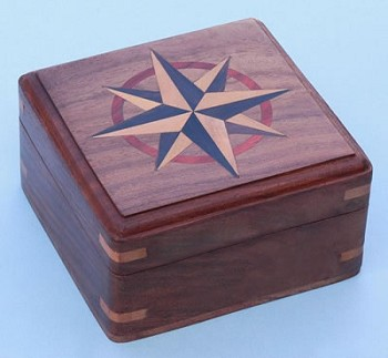 Large Hardwood Case w/ Hand Inlaid Compass Rose