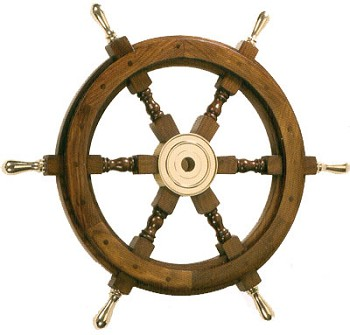"24"" Wooden Ship Wheel w/ Brass Handles"