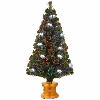 48 In. Fiber Optic Double Bell Christmas Tree in Gold Column Base