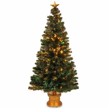 60 In. Fiber Optic Evergreen Firework Christmas Tree with Gold Base