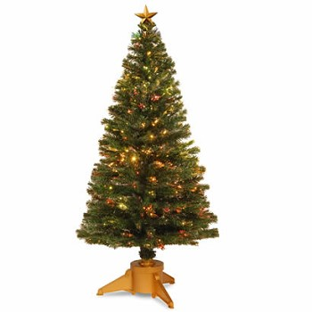 72 In. Fiber Optic Radiance Fireworks Christmas Tree with Gold Base