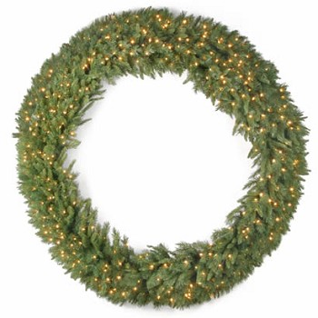 72 In. Tiffany Fir Christmas Wreath with 450 Clear Lights