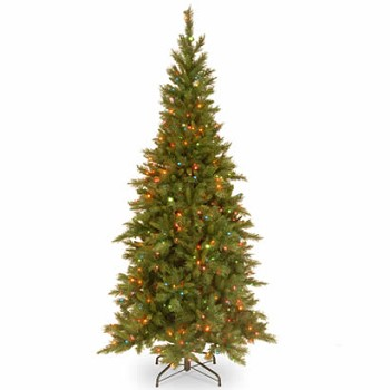 7 1/2 Ft. Tiffany Slim Fir Hinged Christmas Tree w/ 550 Multi Lights