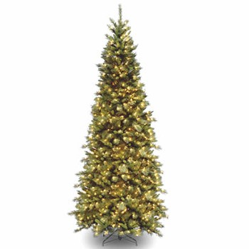 9 Ft. Tiffany Slim Fir Hinged Christmas Tree with 700 Clear Lights
