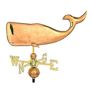 Small Polished Copper Whale Weathervane