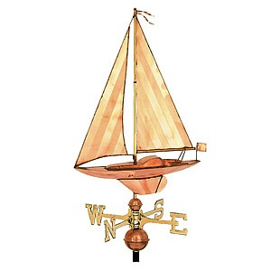 Small Polished Copper Sailboat Weathervane