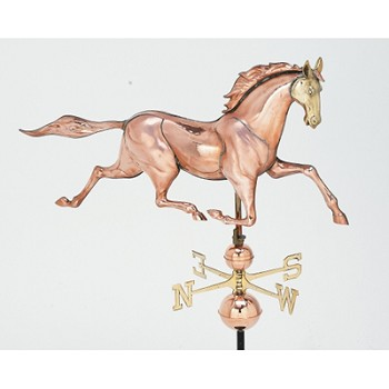 Polished Copper Extra Large 3-D Race Horse Weathervane