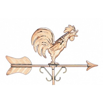 Polished Copper Rooster Cottage Size Weathervane