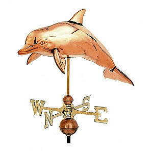 Polished Copper 3-D Dolphin Weathervane