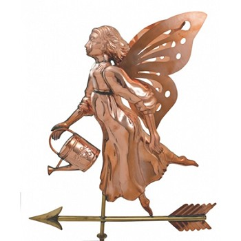 Polished Copper Fairy w/ Watering Can Weathervane