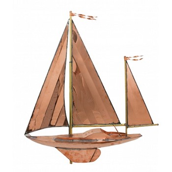 Polished Copper Sailboat Weathervane