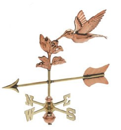 Polished Copper 3-D Hummingbird w/ Arrow Cottage Size Weathervane