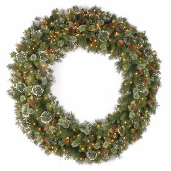 60 In. Wintry Pine Christmas Wreath w/ Snowflakes & 300 Clear Lights