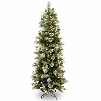 7 1/2 Ft. Wintry Pine Slim Hinged Christmas Tree w/ 400 Clear Lights