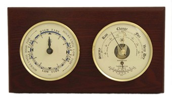 Brass Tide Clock & Barometer/Thermometer on Mahogany