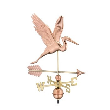 Pure Copper Graceful Blue Heron with Arrow Weathervane